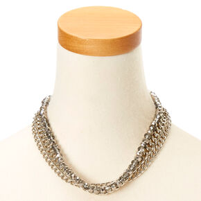 Silver Chrome Multi-Layer Chain Link Necklace,