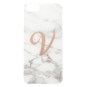 Marbled V Initial Phone Case,