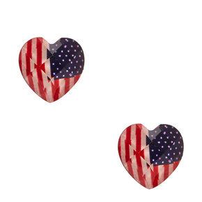 American Flag Dome Heart Stud Earrings,
