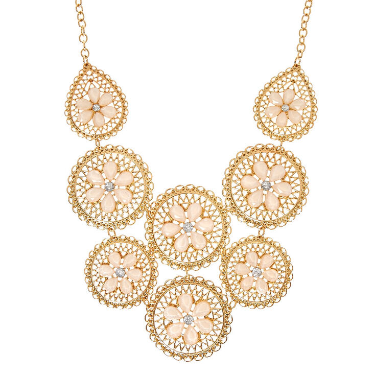 Rose Flower Disk Statement Necklace,