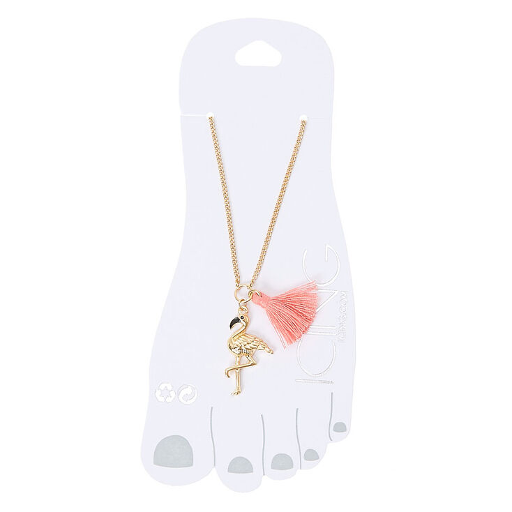 Gold Tone Flamingo Pink Fringe Anklet at Icing in Victor, NY | Tuggl