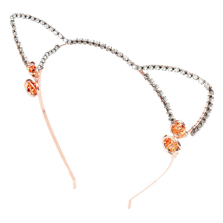 Rose Gold Faux Crystal Cat Ears Headband,