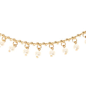 Gold-Tone and Faux Pearl Wrap Choker Necklace,