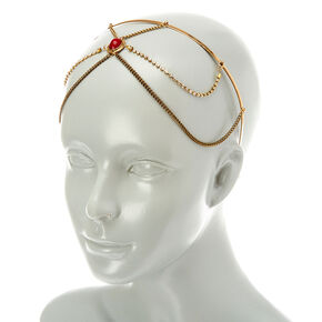 Red Stone Gold Chain Headband,