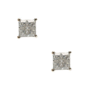 Cubic Zirconia Square Cut Stud Earrings,