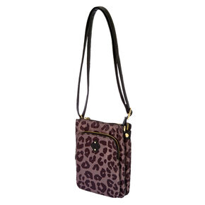 Black and Brown Leopard Print Crossbody Bag,