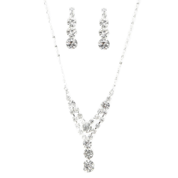 Rhinestone Y-Necklace and Earring Set,