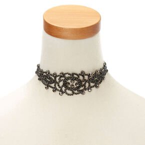 Jet Black Floral Filigree Statement Choker Necklace,