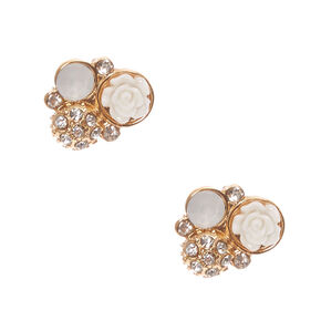 White Carved Rose And Crystal Cluster Gold Stud Earrings,