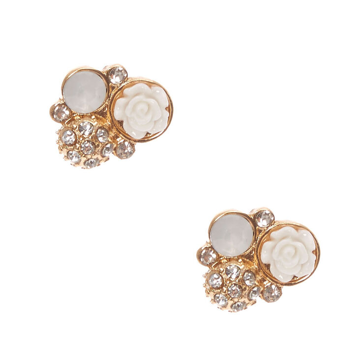White Carved Rose And Crystal Cluster Gold Stud Earrings at Icing in Victor, NY | Tuggl