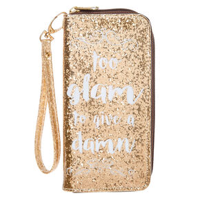 Too Glam To Give A Damn Glitter Wrislet Wallet,
