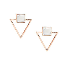 Rose Gold and Marble Triangle Stud Earrings,