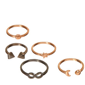 5 Pack Mixed Metal Symbol Rings,