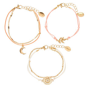 Gold-tone and Pastel Yarn Boho Flair Bracelets,