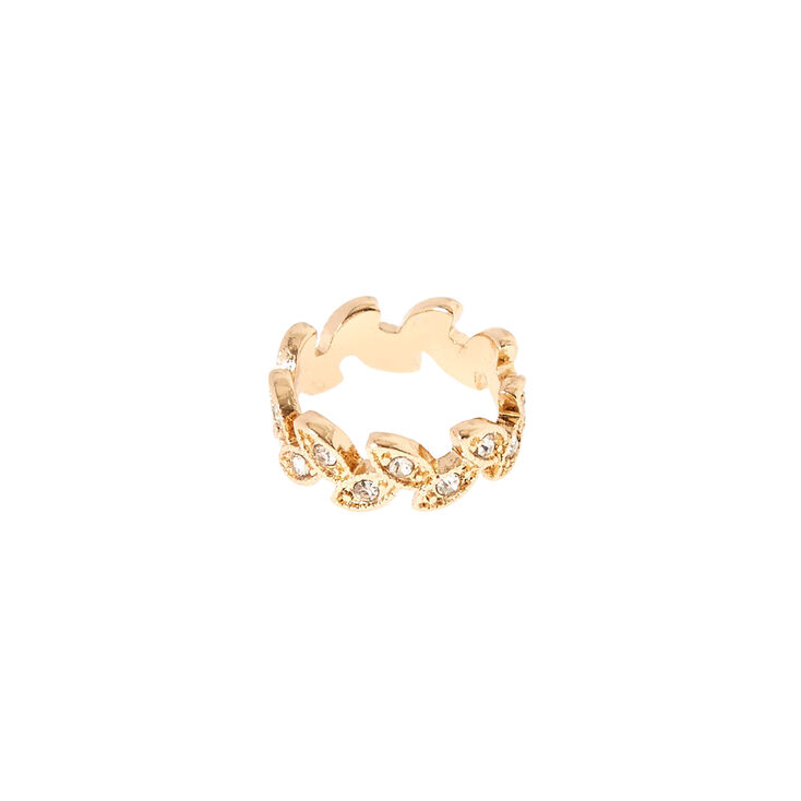 Gold-Tone Leaf Midi Ring,