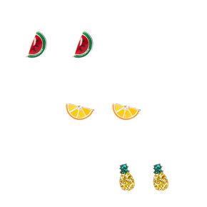 3 Pk 925 MM Sterling Silver Fruit Salad Stud Earrings,