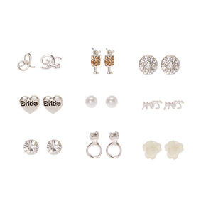 9 Pack Silver-tone Bride Motif Stud Earrings,