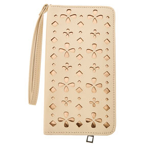 Nude and Gold Perforated Tech Wristlet,