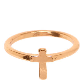 Rose Gold Cross Ring,