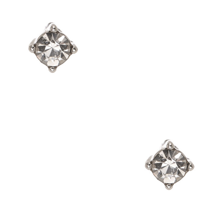 Silver-tone Framed Clear Faux Crystal Stud Earrings,