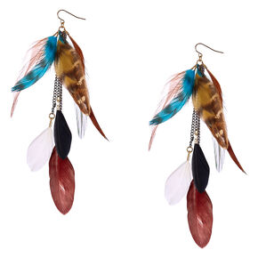 Brown and Blue Wild  Feather Drop Earrings,