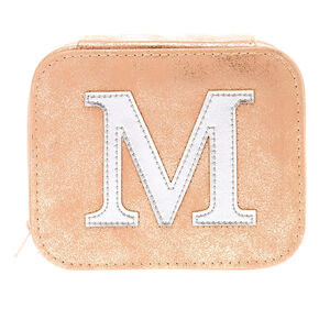 "Blush Pink ""M"" Initial Jewelry Case,"