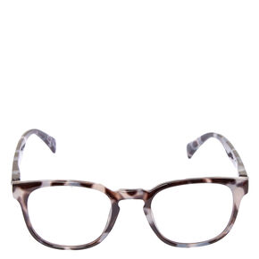 Round Grey Tortoise Print Fake Glasses,
