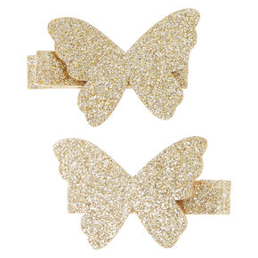 Kids Glitter Gold Butterfly Hair Clips,