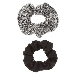 2 Pack Black and Sweater Gray Scrunchies,