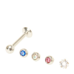 16G Red, White, and Blue Crystal Lip Rings,