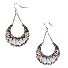 Frosted Crystal Burnished Silver Medallion Drop Earrings,