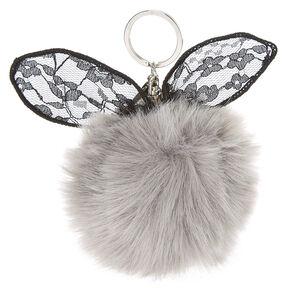 Gray Lace Bunny Ears Pom Pom Keychain,