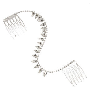 Silver-tone Clear Crystal Teardrop Hair Swag,