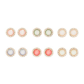 Iridescent Opal and Crystal Button Stud Earrings,