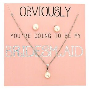 Faux Pearl Bridesmaid Jewelry Set,