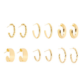 Gold-tone Textured and  Smooth Mini Hoop Earrings,