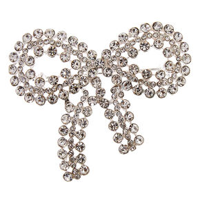 Faux Crystal Bow Pin,