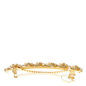 Gold and Faux Crystal Twisted Hair Clip,