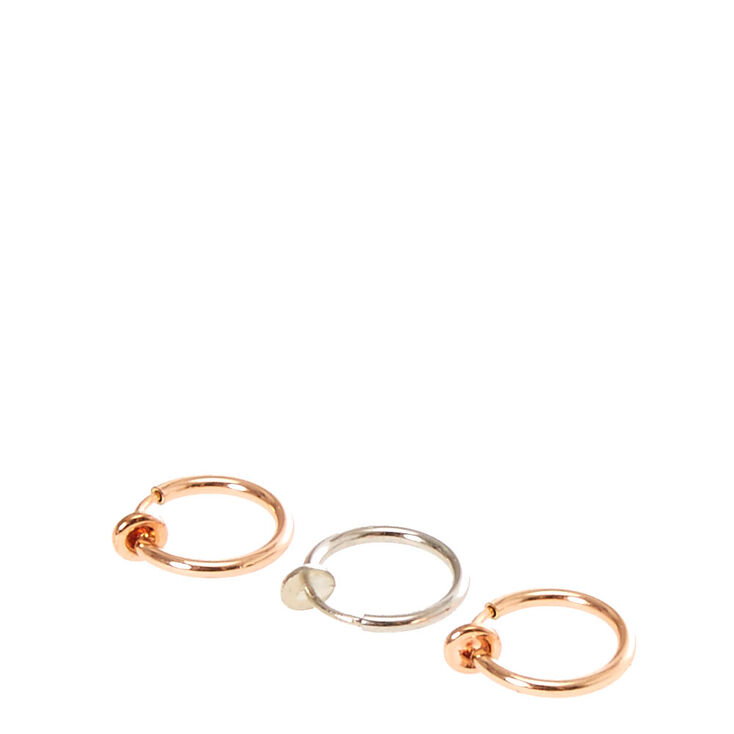 Mixed Metal Faux Nose Hoops,