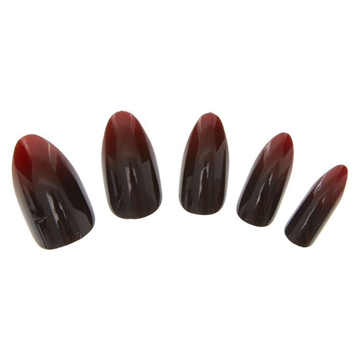 Red and Black Ombre Faux Nails,