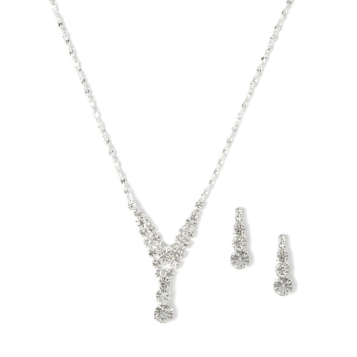 Rhinestone Small Double Y Necklace and Earrings Set,