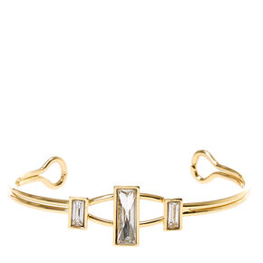 Gold Tone Square Glass Stone Cuff Bracelet,