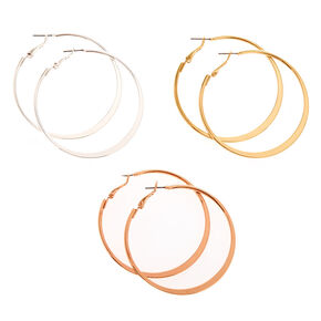50MM Mixed Metal Knife's Edge Hoop Earrings Set,