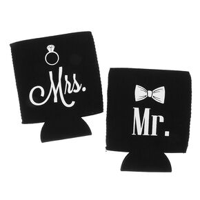 Mr. and Mrs. Black Koozies Set of 2,