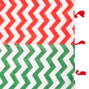 Red & Green Striped Holiday Scarf,