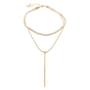 White Gold Y Chain Choker,