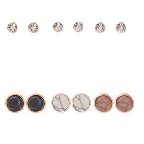 Round Marbled Stone and Clear Faux Crystal Stud Earrings,