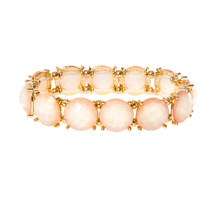 Round Light Pink Glitter Stones Stretch Bracelet at Icing in Victor, NY | Tuggl