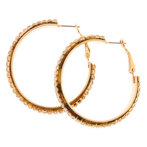 40MM Faux Crystal Lined Gold-tone Hoop Earrings,