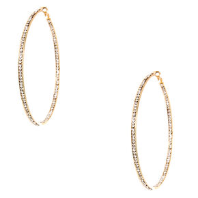 Gold-tone Inner and Outer Crystal Lined Hoop Earrings,
